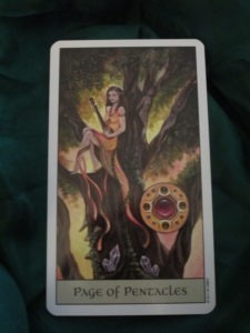 crystal visions tarot page of pentacles