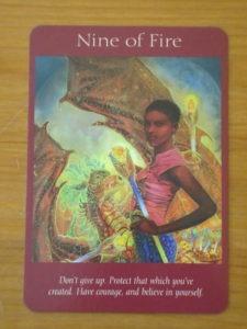 nine of fire angel tarot card